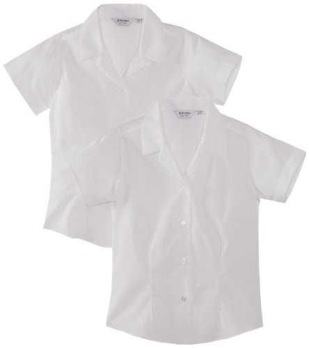 Trutex Girl's, 2 pack, Fitted Easy Care Plain Blouse, White, 15-16 Years (Manufacturer Size: 38