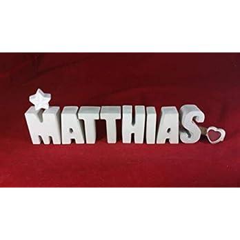 Beton, Steinguss Buchstaben 3D Deko Namen MATTHIAS mit Stern und Herzklammer als Geschenk verpackt! Ein ausgefallenes Geschenk zur Geburt, Taufe, Geburtstag, Namenstag oder auch zu Weihnachten!
