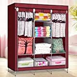 Houzie 66Inch Portable Wardrobe Cabinet Collapsible Clothes Storage Rack Diy(Random Color)