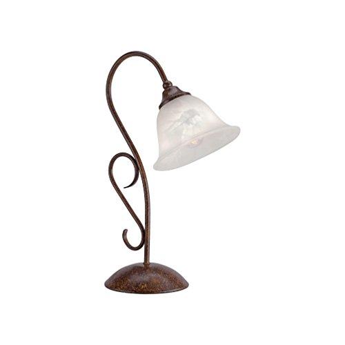 Tischleuchte Alabaster-Dekor Glas, Landhaus Romantik antik rustikal Edel-Rost, E14 LED-fähig Nachttischleuchte (Tischleuchte Tulpenform) - In Antik-braun-tisch-lampe