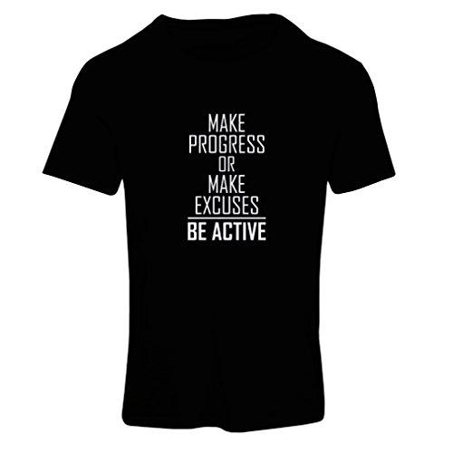 """Frauen T-Shirt """"Be Active - leben ohne Ausreden"""" - Motivation - inspirierend tägliche Angebote für Erfolg (Small Schwarz Fluoreszierend) (Shirt Junior-baby-puppe)"""