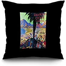 Los Angeles County, California - Tourist Poster # 1 (18x18 Spun Polyester Pillow Case, Black Border)