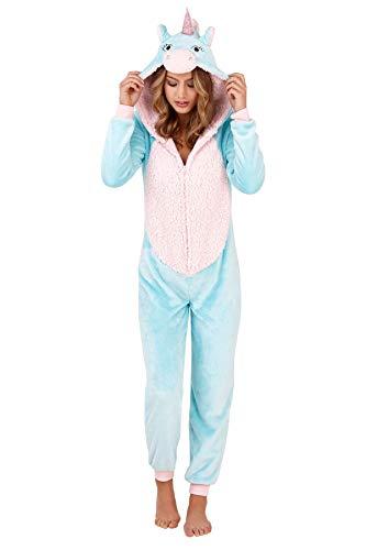 Damen Pyjama aus weichem Fleece, Tiermotiv Gr. Medium-40-42, Aqua/Blue Unicorn (Übergröße Tier Kostüm)