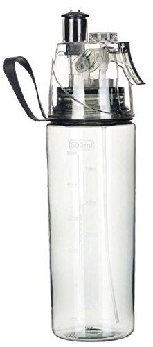 HUIMEIDE Sport Wasserflasche mit Sprayer 600ML Plastik - Trinkflasche Spray Flasche Wasser Becher für Das Laufen, Fitness, Yoga, Im Freien und Camping Schulbedarf Wasserflaschen (Schwarz)