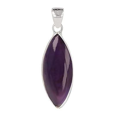 Idée cadeau Maman-Pierre d'améthyste naturelle-Pendentif violet Forme amande-femme