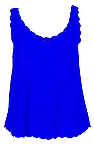 New Ladies Plain Scalloped Edge Stretch Fit Sleeveless T-Shirt Top Womens Scallop Neck Vest Tops Plus Size Royal Blue Size 16 –