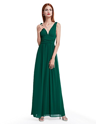 Ever Pretty Damen V-Ausschnitt Lange Chiffon Abendkleider Festkleider 46 Dunkelgrün