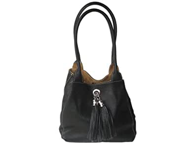 Genuine Small Italian Leather And Soft Suede Handmade Reversible Shoulder Bag 23cm x 23cm x 12cm By Giglio. Made In Italy. Black & Tan