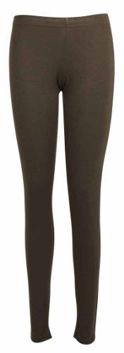 Femmes Neuf Extensible Uni Mesdames Complets Long Longueur Skinny Taille Élastique Pantalon Legging Marron Foncé