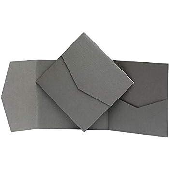 130 x 130/mm Perlglanz Pocketfold Invites Ltd Einladungskarten Platingrau grau