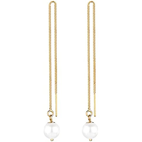Elli 0310840714 - Orecchini pendenti per donna, argento 925, perle sintetiche bianche - Orecchini In Oro Perle Vermeil