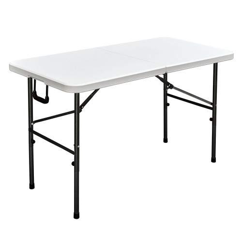 Interouge Table de réception Pliante 122cm Blanc Plateau Pliable - 4 Places