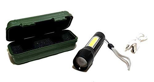 Profi Taschenlampe Klein Leicht Extrem Hell Power Flashlight XPE + COB USB LED Akku Sichtweite 300 bis 800 Meter Lampe Licht inclusive Aufbewahrungsbox