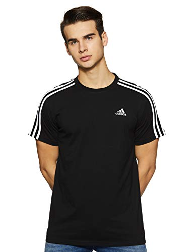 Adidas essentials 3 stripes tee, t-shirt uomo, nero black, medium (taglia produttore:m)