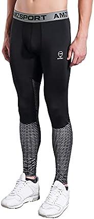 AMZSPORT Pantaloni Sportivi a Compressione da Uomo Leggings da Palestra Calzamaglia ad Asciugatura Rapida