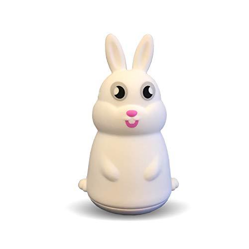 Kreative sende zeichentrickcartoon Kaninchen Silikon kleine Nacht Licht USB-Lademodell klatschen Licht Schlafzimmer Tischlampe mit Schlaflicht