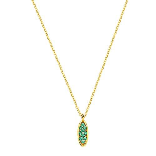 aion Collier Massiv Gold 585 Gold Kette mit Anhänger Gelbgold 14K Synth.Smaragd Halskette 42 - 45 cm