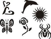 Eulenspiegel Selbstklebe Tattoo - Schablonen Set Best of (XL)