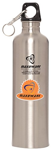 MAXOWARE Stainless Steel Water Bottle, 1 Litre, 1-Piece, Silver (MYENT012)