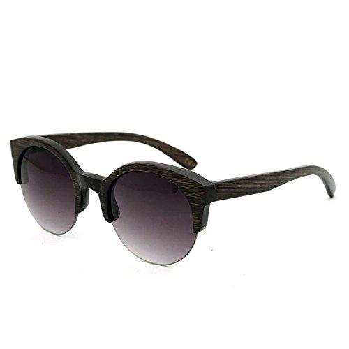 Einfache Brille Runde Semi-Randlose Handgemachte Holz Bambus Sonnenbrille Farbige Linse UV400 Schutz Für Männer Frauen (Farbe : Grau)