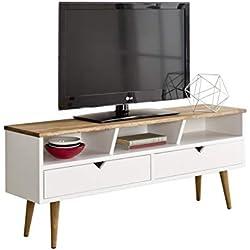 hogar24Meuble TV, Salon Design Vintage, 2tiroirs et étagère, Bois Massif Naturel, Fabrication Artisanale. Dimensions: 110cm x 40cm X.