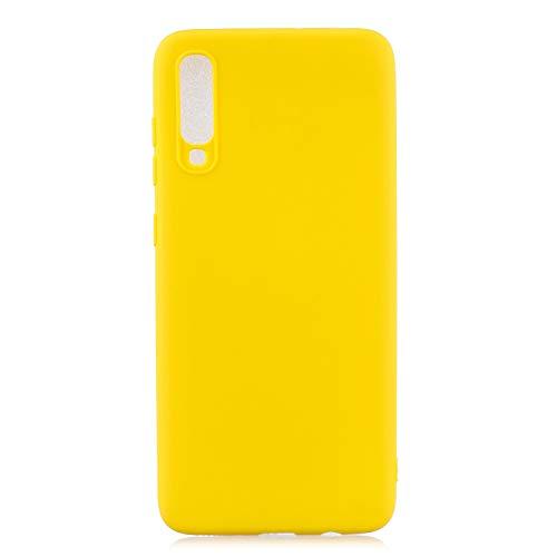 cuzz Funda para Samsung Galaxy A70+{Protector de Pantalla de Vidrio Templado} Carcasa Silicona Suave Gel Rasguño y Resistente Teléfono Móvil Cover-Amarillo