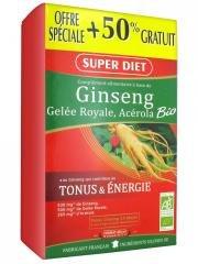 Super Diet Ginseng Gelée Royale et Acérola Bio 30 Ampoules