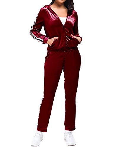 MINTLIMIT Trainingsanzüge Damen Velvet 2 Stück Frauen Reißverschluss Kapuzenpullover Samt Lang Hosen Sport Anzug Set Suit Rot 3XL