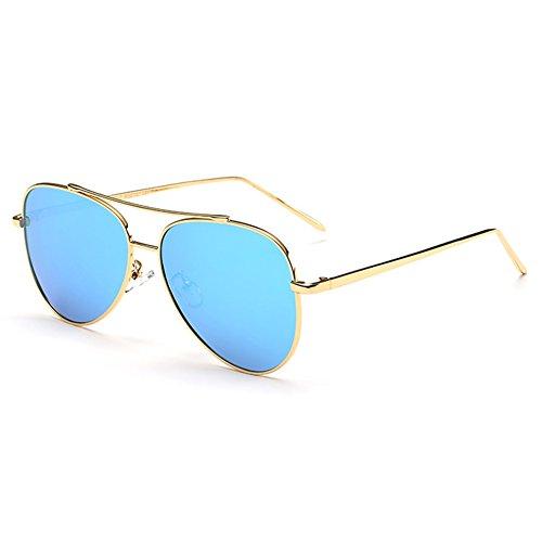 Highdas Femmes Nouvel Alliage Polarisées Lunettes de soleil aviateur miroir Lunettes Pour Conduite Pêche Vintage Lady Shades Gold/Blue Ice