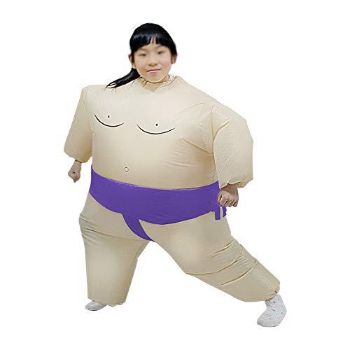 Kids Ringer Kostüm - XXLLQ Aufblasbares Kostüm Erwachsene/Kind aufblasbare Sumo Ringer -Partei-Kostüm Lustige Inflatable Costume Party Fancy Cosplay Outfit Anzüge für Halloween Fasching Karneval,Purple,Child