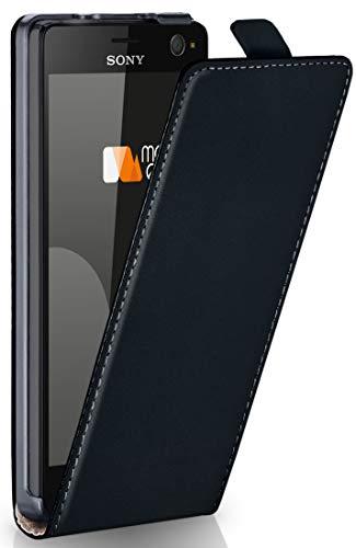 moex Sony Xperia C4   Hülle Schwarz 360° Klapp-Hülle Etui Thin Handytasche Dünn Handyhülle für Sony Xperia C4/C4 Dual Case Flip Cover Schutzhülle Kunst-Leder Tasche