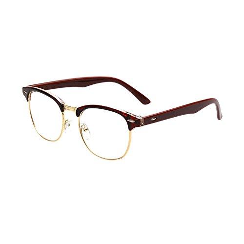 Haodasi Fashion Half Rim rétro cadre clair lentille lunettes Brown