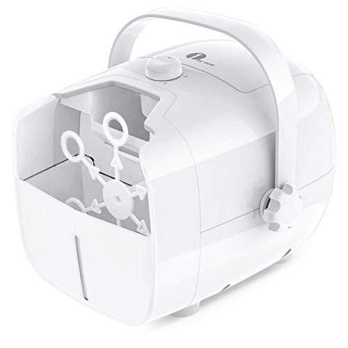 1 BY ONE Tragbare Seifenblasenmaschine, Automatischer Seifenblasen angetrieben von Batterie oder Stecker, Outdoor/Indoor Seifenblasenwerfer für besonders viele Seifenblasen - Weiß