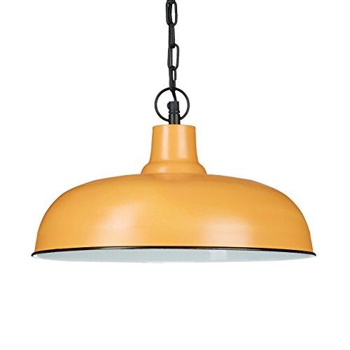 Relaxdays Luminaire lampe à suspension abat-jour plat et rond métal intérieur blanc chaîne suspension métal noire style industriel design HxlxP : 128 x 36 x 36 cm, couleur argile marron