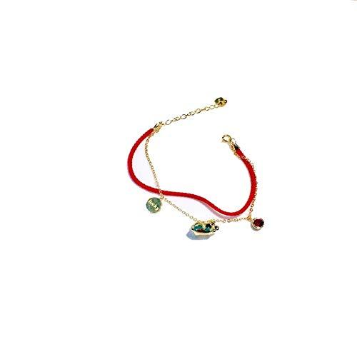 SBL S925 Mode Wind Geburtsjahr Rote Seil Schwein Armband Damen, Tierkreis Transport Fu Wort Schwein Armband Schmuck,Golden,A