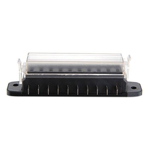 Boîte à fusible à lame - 12 V - 10 voies - Support pour planche - Couvercle - Pour intérieur de bateau, mini camion, voiture - Portable