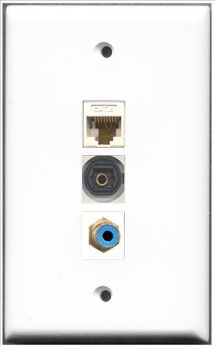 RiteAV-1Port RCA blau und 1Port Toslink und 1Port Cat6Ethernet weiß Wall Plate Decora Insert Flush