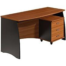 Habitdesign 0C4625Z - Mesa de despacho con cajonera , acabado castaño y gris , medidas 138 cm x 67 cm x 75 de altura