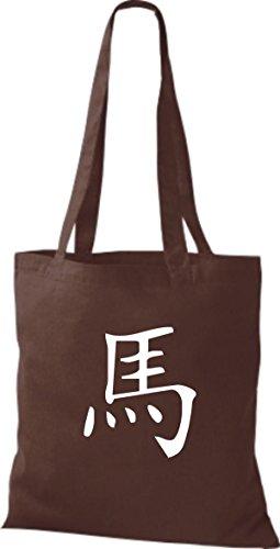 ShirtInStyle Stoffbeutel Chinesische Schriftzeichen Pferd Baumwolltasche Beutel, diverse Farbe chocolate