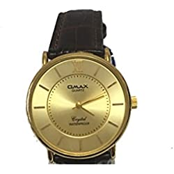 Omax Mens Wrist Watch Brown Lather Strap Gold Analog Dail