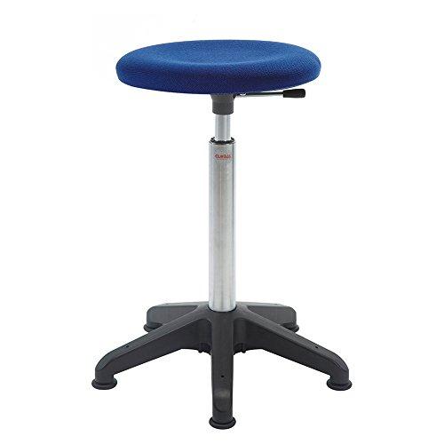 Arbeitshocker Stehhilfe, 54-80 cm Sitzhöhe, Fußkreuz, gepolstert, blau