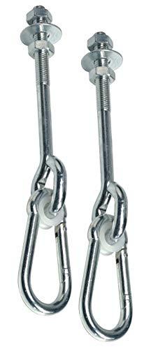 GK 2er-Set Schaukelhaken zum Durchschrauben, mit Karabiner, M12x160 mm, für Holzstärke bis. ca. 140 mm