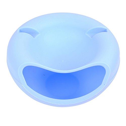 junejour Kunststoff Double Melone Samen Gericht Trocknen Obst Tablett mit Telefon unterstützen Slot für Wohnzimmer, plastik, blau, 21.2cmx17cmx11.5cm