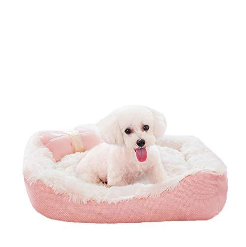 Y&u bello cotone canile morbido divano per cani stuoia del cane confortevole letto per cani cuscino reversibile fondo antiscivolo resistenza al morso rosa / 4 dimensioni