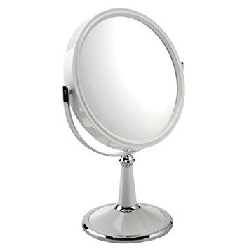 Fancy Metal Goods 10x Magnification Pedestal Mirror, White
