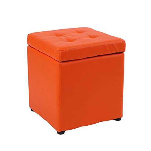 Schuh Bench (Osmanisches Foot Pad Multiplex Waterproof and Moisture-Proof Schuhe Bench Soft and Comfortable Load-Bearing Strong Storage Stool 31×31×35Cm,orange)
