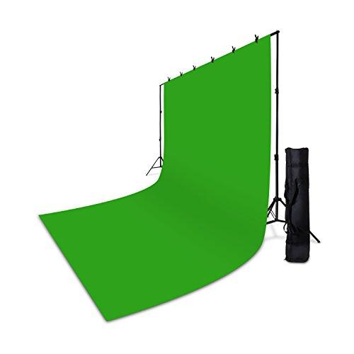 Professionelles HAUSER & PICARD  Foto-Hintergrund-System 3,00 m (Breite) x 2,40 m (Höhe) mit Teleskop-Feder-Stativen / besonders schneller Aufbau durch Stecken und Drehen / inklusive Foto-Klemmen und Transport-Tasche | inklusive Foto-Hintergrund-Stoff 3,00 m (Breite) x 6,00 m (Höhe) | Farbe: Grün / Green-Screen / Chroma Key | mit umgenähtem Aufhängetunnel universell passenden für alle Foto-Hintergrund-Systeme | Studio-System für Portrait-Fotografie, Produkt-Fotografie und Videoaufnahme