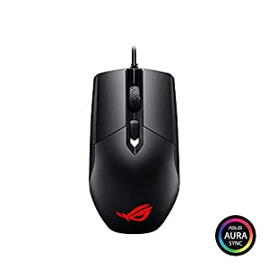 Asus ROG Strix Impact Gaming Maus (Rechts-/ Linkshänder, 5000 DPI, Aura Sync RGB Unterstützung) stahlgrau
