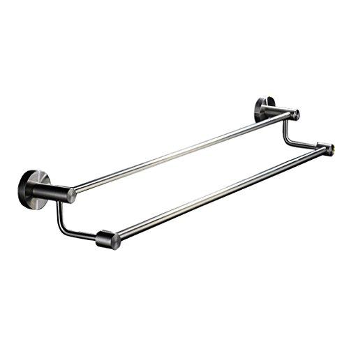 Barre à serviette double Porte-serviettes en acier inoxydable 304 à finition brossée pour salle de bain ou cuisine (60CM)