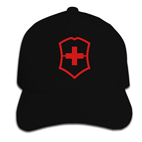 Huseki Newest Swiss Army Cotton Baseball Cap Peaked Hat Adjustable For Unisex Ash Black (Swiss Hat)